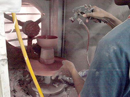 mewarna keramik teknik spray